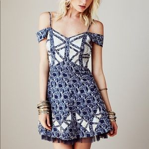 New Free People Cutaway Dress Embroidered
